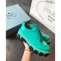 Prada Green Monolith Patent Leather Derby Shoes