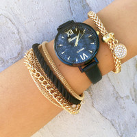 Twisted Rope Watch and Bracelet Set