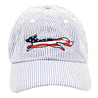 Patriotic Longshanks Logo Hat in Blue Seersucker by Country Club Prep