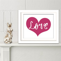 Love wall decor Typographic poster Love art print Red heart Modern wall decor Anniversary gift Minimalist poster Valentines gift Home decor