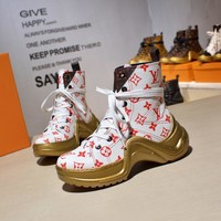 White Red LV LOUIS VUITTON Leather Sneakers Luxury Style