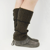 Grunge Leg Warmers in Chocolate Brown Lambswool - Upcycled Sweaters