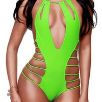 Green Strappy Cut Outs Halter Swimsuit