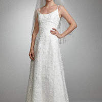 Spaghetti Strap Beaded Lace Slim A-Line Gown - David's Bridal
