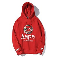 Bape Aape hot seller of stylish couple print casual cotton padded hoodies Red