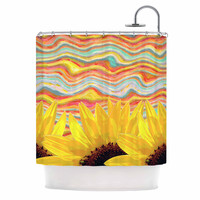 """Suzanne Carter """"Sunflower Dreaming """" Yelllow Teal Shower Curtain"""