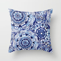 Delft Blue Mandalas Throw Pillow by noondaydesign