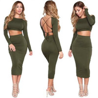 Women Sexy Backless Long Sleeve Bandage Bodycon Party Club Cocktail Pencil Dress