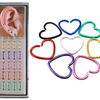 Yueton 40pcs Colorful Eight Color Metal Earring, Split Ear Ring Hoop, Nose Studs, Body Jewelry Piercing Nose Open Hoop Ring (Heart)