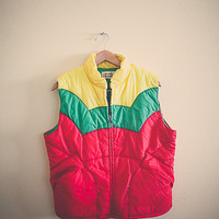 80s 70's Puffer Vest Puffy Vest Yellow Green Red Rainbow Stripes Jacket Coat  Small Hipster Preppy Snow Vest Cozy Ravewear Festival Wear