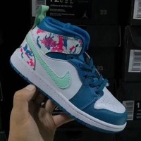 Air Jordan 1 Retro White Floral Toddler Kid Running Shoes Child High Top Sneakers - Best Deal Online