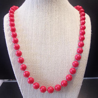 Vintage Red Beaded Necklace Classic Retro Jewelry Beads Fashion Accessories For Her