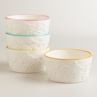 Embossed Floral Bettina Bowls, Set of 4