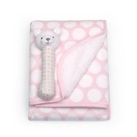 Carter's Velour Sherpa Blanket with Rattle, Pink Dot Bear