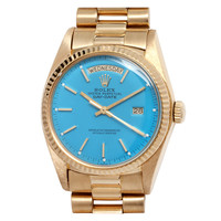 Rolex Yellow Gold Day Date President Wristwatch with Custom Dial circa 1977