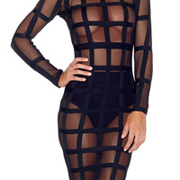 Meshmerizing Bandage Dress - Noir