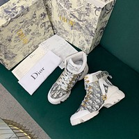 Dior Men's And Women's Oblique Canvas Fashion High Top Sneakers Shoes