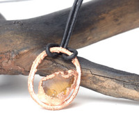 honey glass copper pendant hippie summer necklace birthday gift for her unisex pendant gifts for him beach geometric necklace yellow