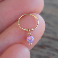 Tiny Cartilage Earring, Gold Cartilage, Opal Cartilage Hoop, Cartilage Helix Ring, Cartilage Hoop Earring, Gold Cartilage Hoop, Helix