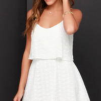Happy Tiers Ivory Lace Dress