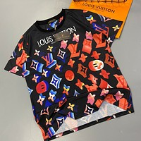 2020 new LV Louis Vuitton full printed color three-dimensional contrast logo T-shirt