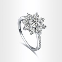 Fashion Pretty Wedding Finger Ring Jewelry Woman's Classic Fancy Lady's Snowflake Ring US Size 8