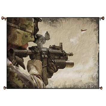 American Soldier with Gun Picture on Canvas Hung on Copper Rod, Ready to Hang, Wall Art Décor