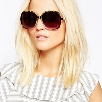 ASOS Oversized 70s Sunglasses In Mixed Frame at asos.com