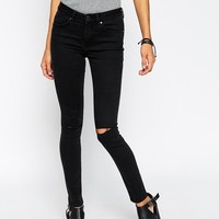 ASOS Lisbon Skinny Mid Rise Jeans in Washed Black with Two Displaced Ripped Knees