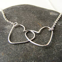 Silver Valentine Double Heart Necklace