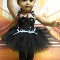 """American girl doll clothes """"Midnight Ballet"""" (18 inch) leotard tutu ballet shoes toe shoes OOAK black and silver"""