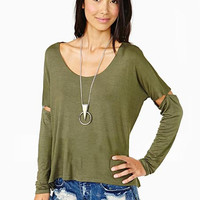 'The Kanti' Solid Color Cut-Out Long Sleeve Shirt