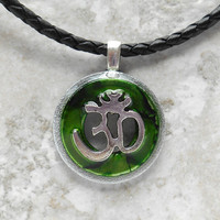 ohm necklace: green - mens jewelry - mens necklace - om necklace - yoga jewelry - boyfriend gift - leather cord - new age jewelry