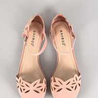 Bamboo Lynna-93 Faux Suede Cut Out Ankle Strap Ballerina Flat