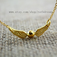 the harry potter jewelry golden snitch necklace Antique steampunk Unique gift bronze