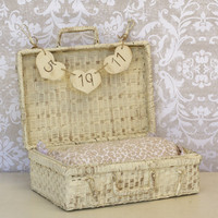 Baby Infant Photo Prop Basket Trunk With Personalized Sign Rustic Shabby Chic