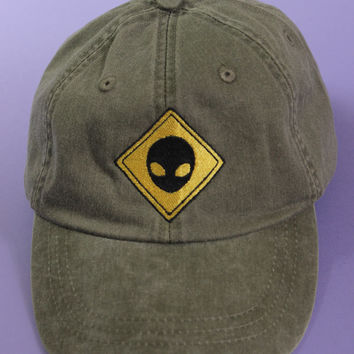 Alien Crossing Sign Forest Green Washed Baseball Cap