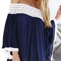 Navy Blue White Crochet 3/4 Bell Sleeve off The Shoulder Loose Tunic Top