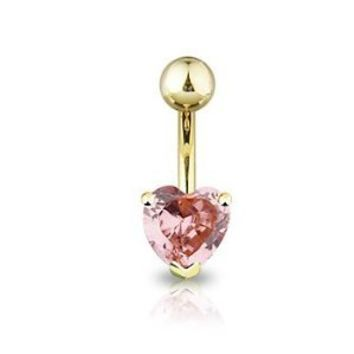 Pink Sparkle Heart Solitaire Gold-Tone Belly Ring