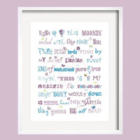 Three Little Birds Bob Marley Print Song Quote in purple, blue and green for Brooklyn bedding 11x14 by YassisPlace, Many Colors