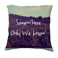 """Throw Pillow-Home Decor-""""Somewhere""""  Pillow-Typography--Lake & Woodland Landscape,Home Decor- - $35.00 - Handmade Home Decor, Crafts and Unique Gifts by Vintage Skies Photography & Designs"""