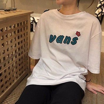 """Vans"" Women Simple Cute Floret Letter Print Short Sleeve T-shirt Top Tee"