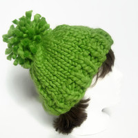 Chunky Knit Hat with Pom Pom – Hand Knit Beanie – Green Wool Winter Beanie – Ski Hat – Christmas Gift for Her or Him – Winter Fashion