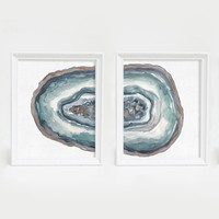 Agate Mineral Watercolor Duo Wall Art Print
