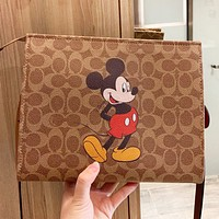 COACH & Disney New fashion pattern mouse print leather shoulder bag crossbody bag