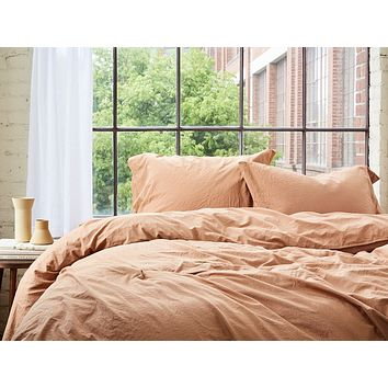 Ginger Organic Crinkled Percale Duvet Cover by Coyuchi