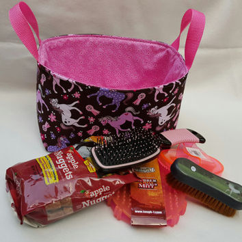 Gift for Horse, Horse Birthday Present, Fabric Grooming Caddy with Equine Brushes and Treats