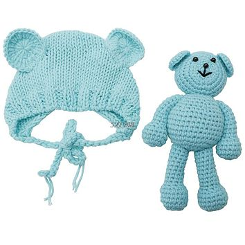 born Baby Bear Hat Photography Props Crochet Beanie Photography Accessories