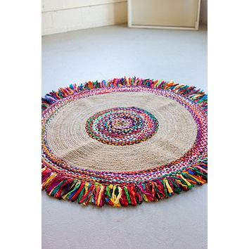 Recycled Braided Kantha & Sea Grass Rug  -  Large