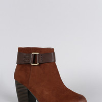 Qupid Suede Contrast Hardware Round Toe Heeled Ankle Boots
